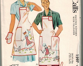 525fb19870a 1950 McCalls 1597 Cover-all Apron Sewing Pattern Vintage Retro Full Size  with Transfer for Embroidery