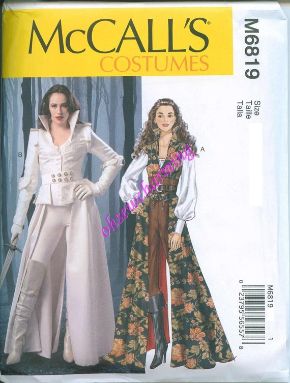 Once Upon A Time Costume Pattern McCalls 40 Sewing Pattern Etsy Unique Costume Patterns