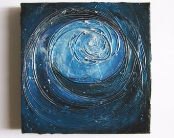 Ripple - Original Abstract Textured Painting on Canvas - Deep Turquoise and Silver, Waves / Sea / Ocean / Bohemian Decor