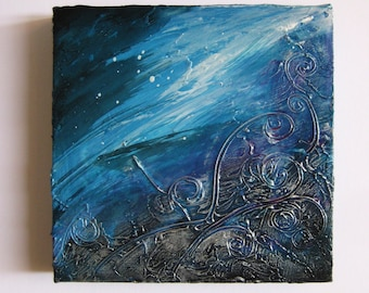 Bombora - Original Abstract Textured Painting on Canvas - Deep Turquoise and Silver Flows of Strokes / Waves / Sea / Ocean / Bohemian Decor