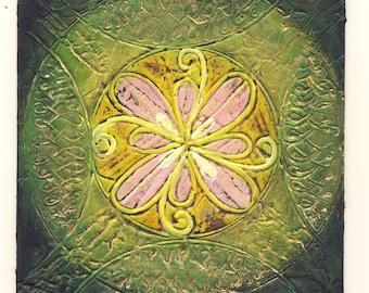 May 20 - Original Abstract Rangoli Textured Painting on Mat Board 5x5 inch / Green / Yellow / Pink / Gold / Bohemian Decor Green and Gold