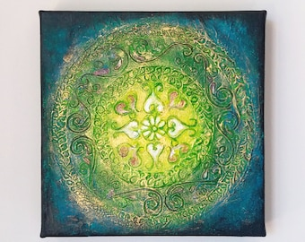 Textured Acrylic Original Painting, Embossed Abstract Floral Motifs on Square Canvas, Green, Blue and Gold Abstract Wall Art, Unforgettable
