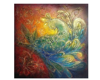 Textured Peacock Painting, Original Art Work on Canvas, Acrylic Painting 65x65 cm (25.6 x 25.6 inch), The Rising Peacck III