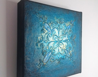 Original Painting Textured Acrylic Art, Abstract Floral Motifs on Square Canvas, Blue and Gold Abstract Wall Art, The Brightest Star Tonight
