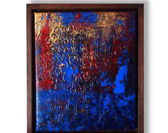 Original Abstract Textured Paintings On Canvas, Moonlight Blue, Framed and Ready to Hang 8.75 x 7.5 inches