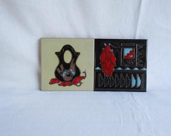 Vintage Art Tile Cleo Teissedre Trivet Coasters