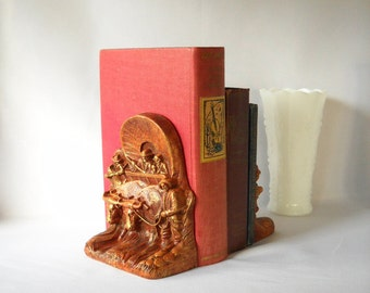Vintage Bookends Conestoga Wagon Bookends Covered Wagon Western Decor Man Cave