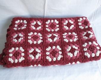 Vintage Blanket Afghan Blanket Granny Square Burgundy and White Throw Blanket