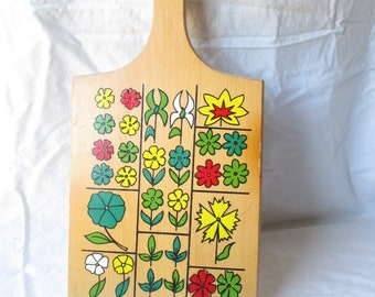 Vintage Cutting Board Painted Wooden Cutting Board Flower Nevco Yugoslavia