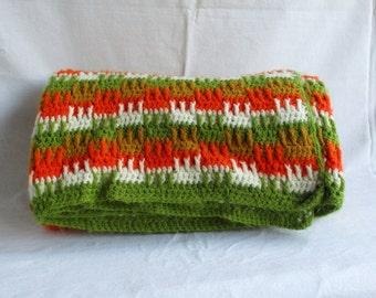Vintage Afghan 1970s Blanket Crochet Afghan Stripe Retro Decor Hippie Chic Boho Decor