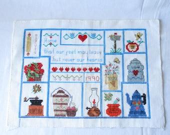 Vintage Needlepoint Kitchen Cross Stitch Vintage Embroidery Cottage Chic Country Decor