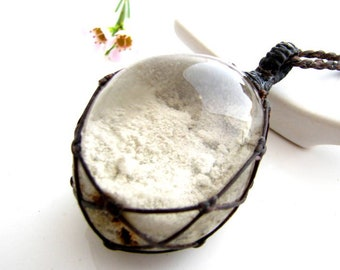 Woodland Jewelry, Healing Crystal Necklace,  Shaman Stone,  Necklace,  Lodalite jewelry, Gardener,  Gift Idea, Fairy pendant, macrame