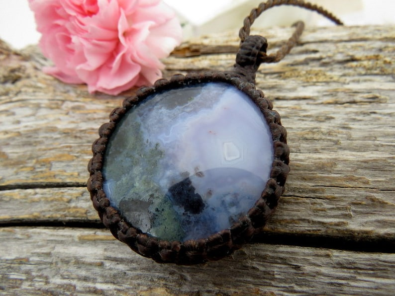 RESERVED FOR CHRISTINA Gift for her gift ideas for her necklace Macrame necklace Rare Purple Moss Agate pendant Agate necklace