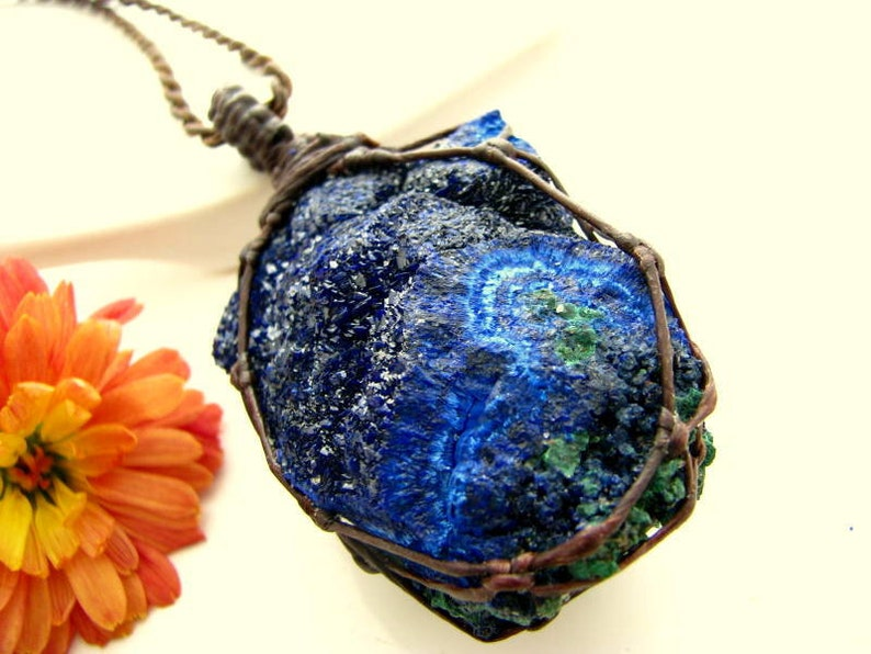 Macrame pendant Azurite necklace Healing Stones and Crystals Azurite jewelry Azurite Druzy Azurite pendant Malachite necklace