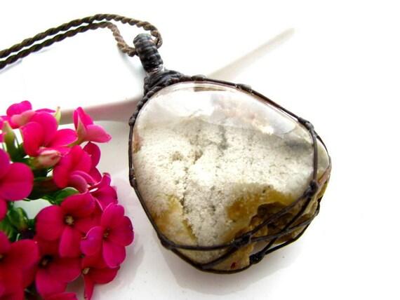 Healing crystal necklace Fairy pendant Lodalite jewelry macrame jewelry Garden Quartz Necklace macrame necklace macrame jewelry