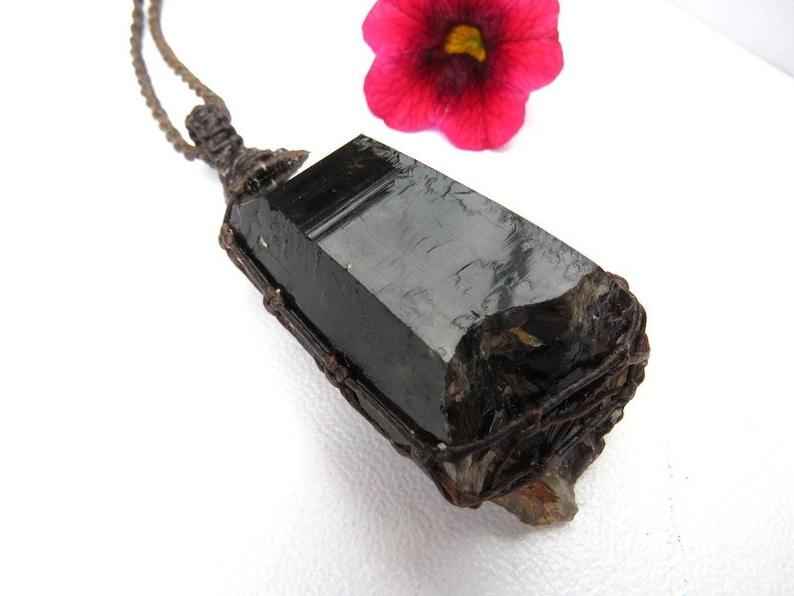 Smokey Quartz crystal point necklace  Smokey Quartz jewelry   Quartz  necklace  Healing crystals and gemstones  macrame necklace