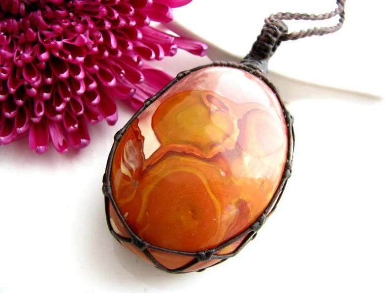Polychrome Jasper Necklace   Jasper jewelry  Polychrome Pendant  Natural stone  Healing jewelry  hippie chic  Macrame  cabochon