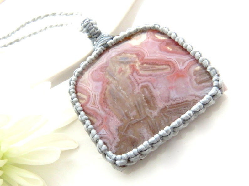 Rare Pink Agate necklace  Pseudomorph Agate pendant  Macrame necklace  Pink Stone   Healing crystals and gemstones  Designer cab