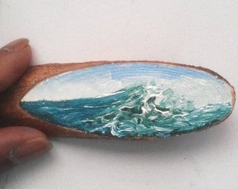 """Mini Oil Painting Large Wave on Wood Slice 1"""" x 4"""" READY TO SHIP"""
