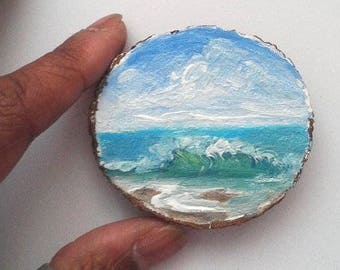 """Mini Oil Painting Wave on Beach on Wood Slice 2.25"""" READY TO SHIP"""