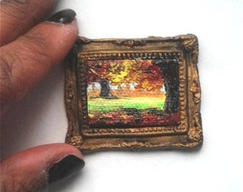 1:6 Scale Fall Oil Painting, Framed READY to SHIP