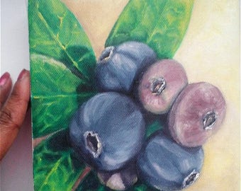 """Oil Painting Blueberries 6"""" x 6"""" Heavy Duty Gallery Wrap Canvas, Ready to Ship"""
