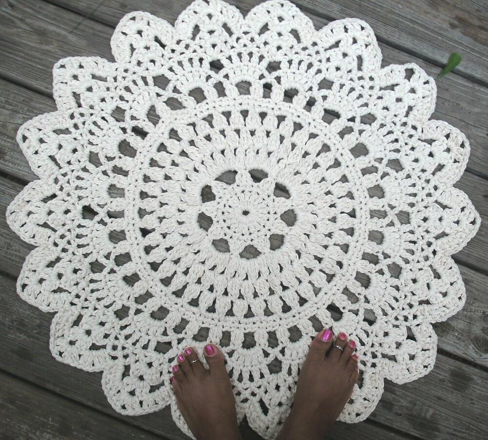 White Cotton Crochet Doily Rug 30 Non Skid
