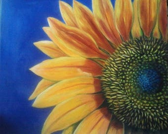 "Reduced, Oil Painting Sunflower 20"" x 24"" READY to SHIP"