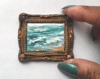 1:6 Scale Beach Oil Painting Framed, Ready to Ship