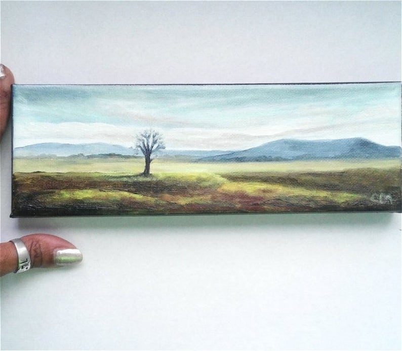 Oil Painting Mountains Lone Tree  3 x 9 READY to SHIP