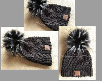 Black Crocheted Winter Hat with Black & White Tuft Pom