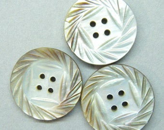Antique buttons, set of 3, carved buttons, abalone shell, shell buttons