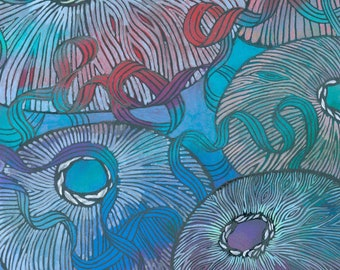 Undercurrents    Abstract Underwater Ribbons and Sea Urchin Art Print, Coral Reef Illustration, Colorful Acrylic and Charcoal Painting