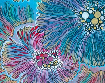 Anemones    Abstract Sea Life Painting Art Print, Colorful Floral Pattern, Decorative Underwater Sea Anemone Illustration