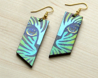 Striped Cat Earrings    Hand-painted vivid colors on reclaimed wood finished with glossy varnish and gold plated stainless steel wire