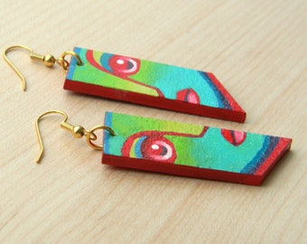 Face Earrings    Hand-painted vivid colors on reclaimed wood finished with glossy varnish and gold plated stainless steel wire