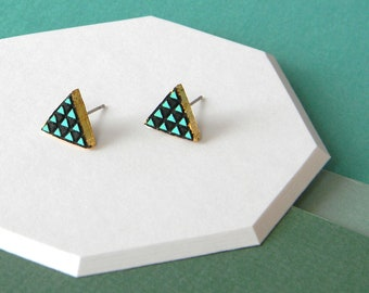 Triangle Stud Earrings, Minimalist Teal Turquoise Geometric Tiny Posts with Gold Leaf Edges, Handmade Jewelry, Laser Cut Hand Painted Wood