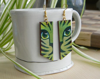 Striped Cat Earrings    Hand-painted vivid colors on reclaimed wood finished with glossy varnish and silver plated stainless steel wire