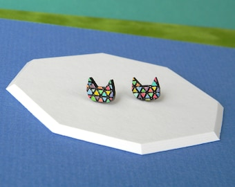 Rainbow Cat Stud Earrings, Colorful Cat-shaped Geometric Tiny Studs, Handmade Jewelry, Hand Painted Cut Wood with Triangle Pattern