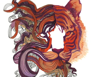 "Tiger Art - Cat Painting Orange, Red & Purple Tiger Print - ""Tiger Dreams"""
