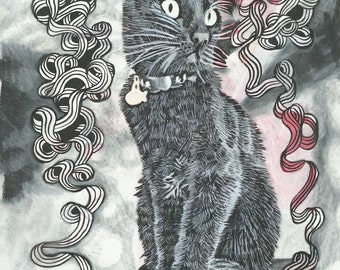 "Cat Art Illustration - Black Cat Drawing Black & White Charcoal Art Print - ""Bruce"""