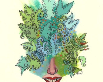 Fern Face - Archival Art Print