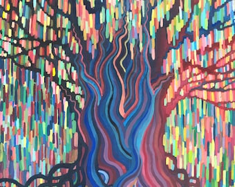 Rainbow Rain    Colorful Tree Print, Weeping Willow Tree, High Quality Print on Archival Paper, abstract gouache pattern painting