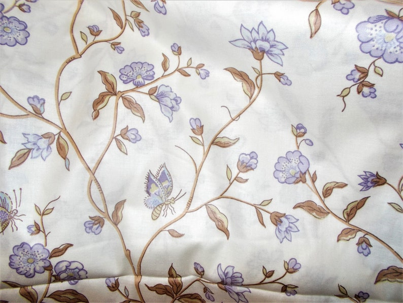 Waverly Fabric Eleanor Fabric Floral Purple Cream Butterfly image 0
