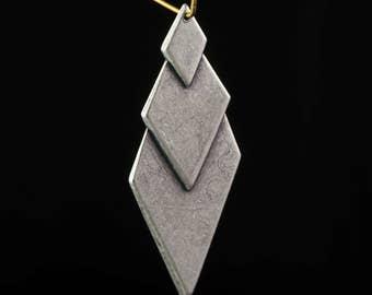 Sterling Silver Ox Layered Look Diamond Pendants (4) mtl419D
