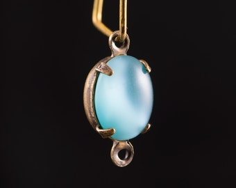Blue Moonglow Oval Stones in 2 Loop Brass Ox Plated Setting 10x8mm (4) ovl017S2