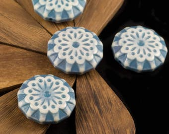 Turquoise Blue and Cream Vintage Lace  Flower Beads 28mm bds807A