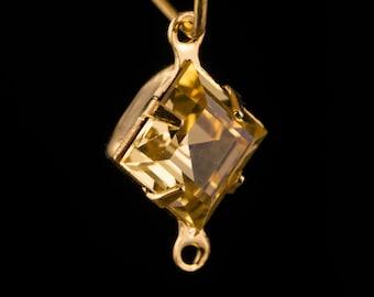 Rauchtopas Square Glass Stones 2 Loop Gold Setting 8mm (6) squ018NN2