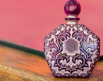 Vintage Purple Etched Faux Perfume Bottle Pendant Copper Details pnd066B
