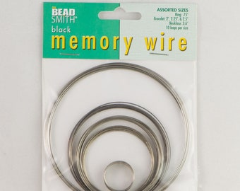 Beadsmith Black Plated Memory Wire Assorted Sizes